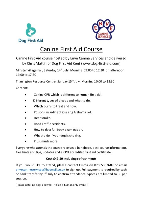 Coming soon - Canine First Aid Courses